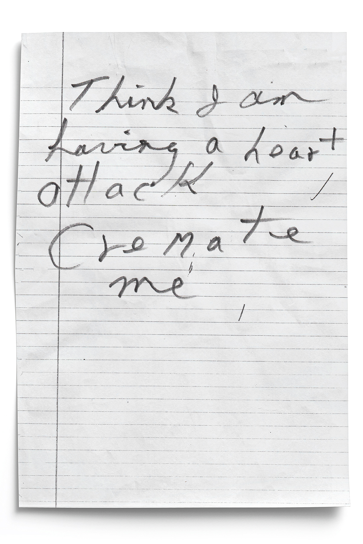 Letter Left by Harold at the Crime Scene