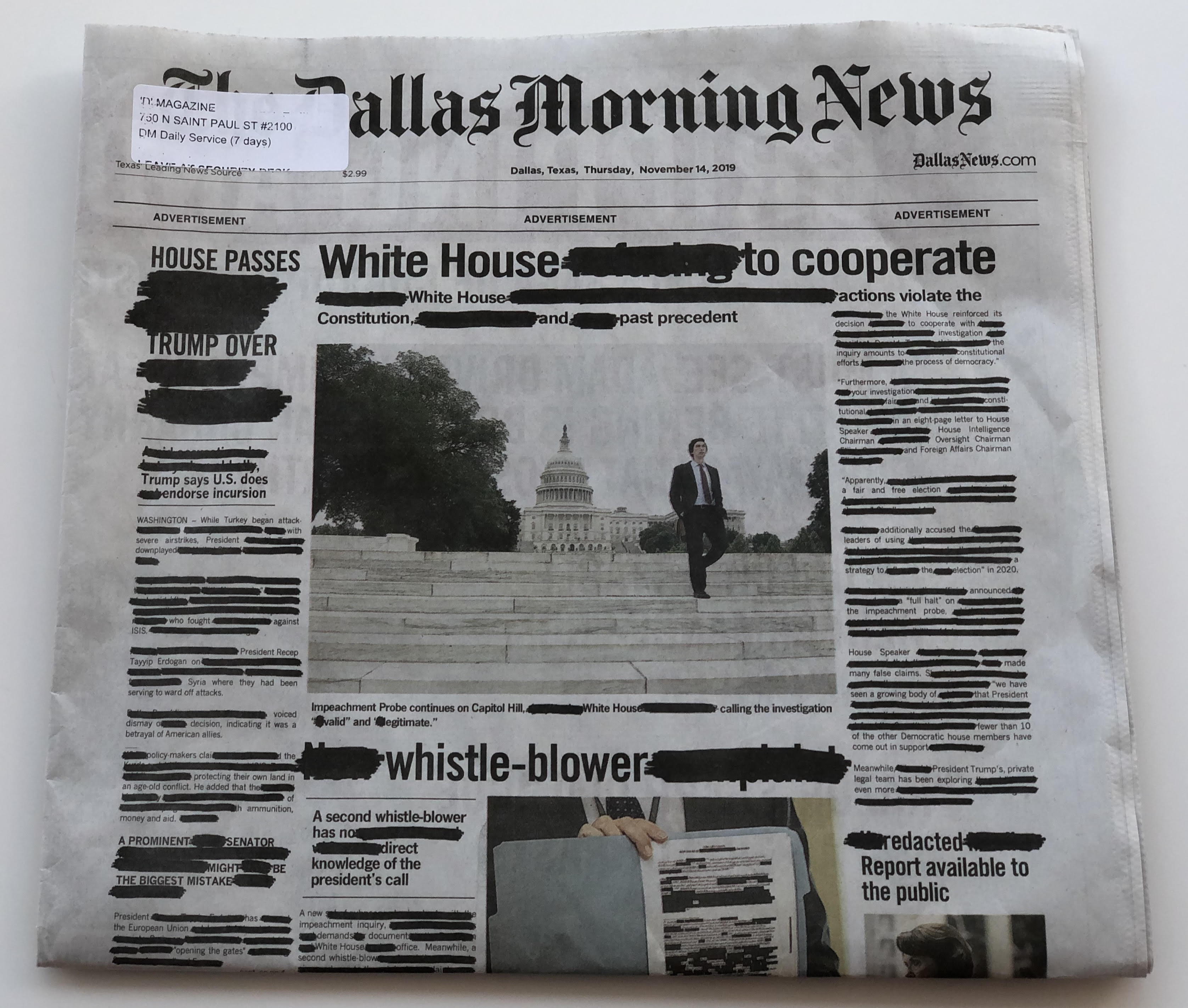 New Old Stock The Dallas Morning News Counter Mat Advertising Comics Awesome!