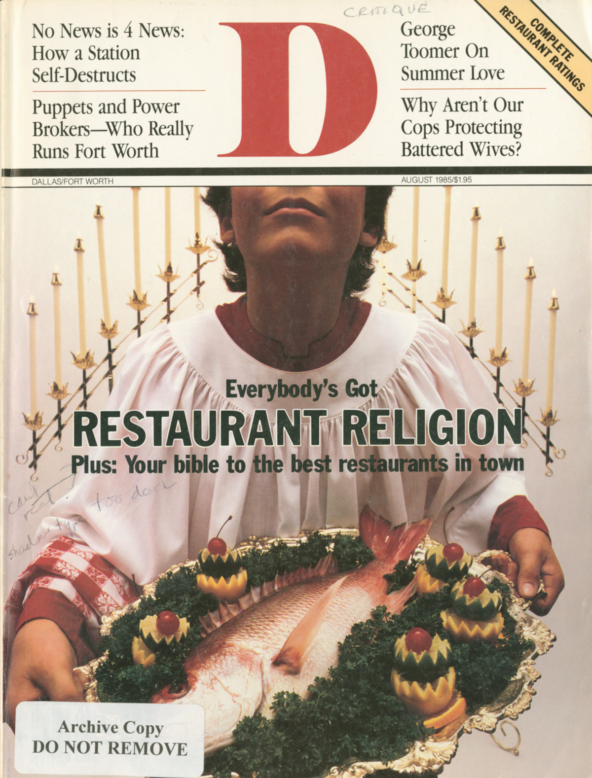 August 1985 cover