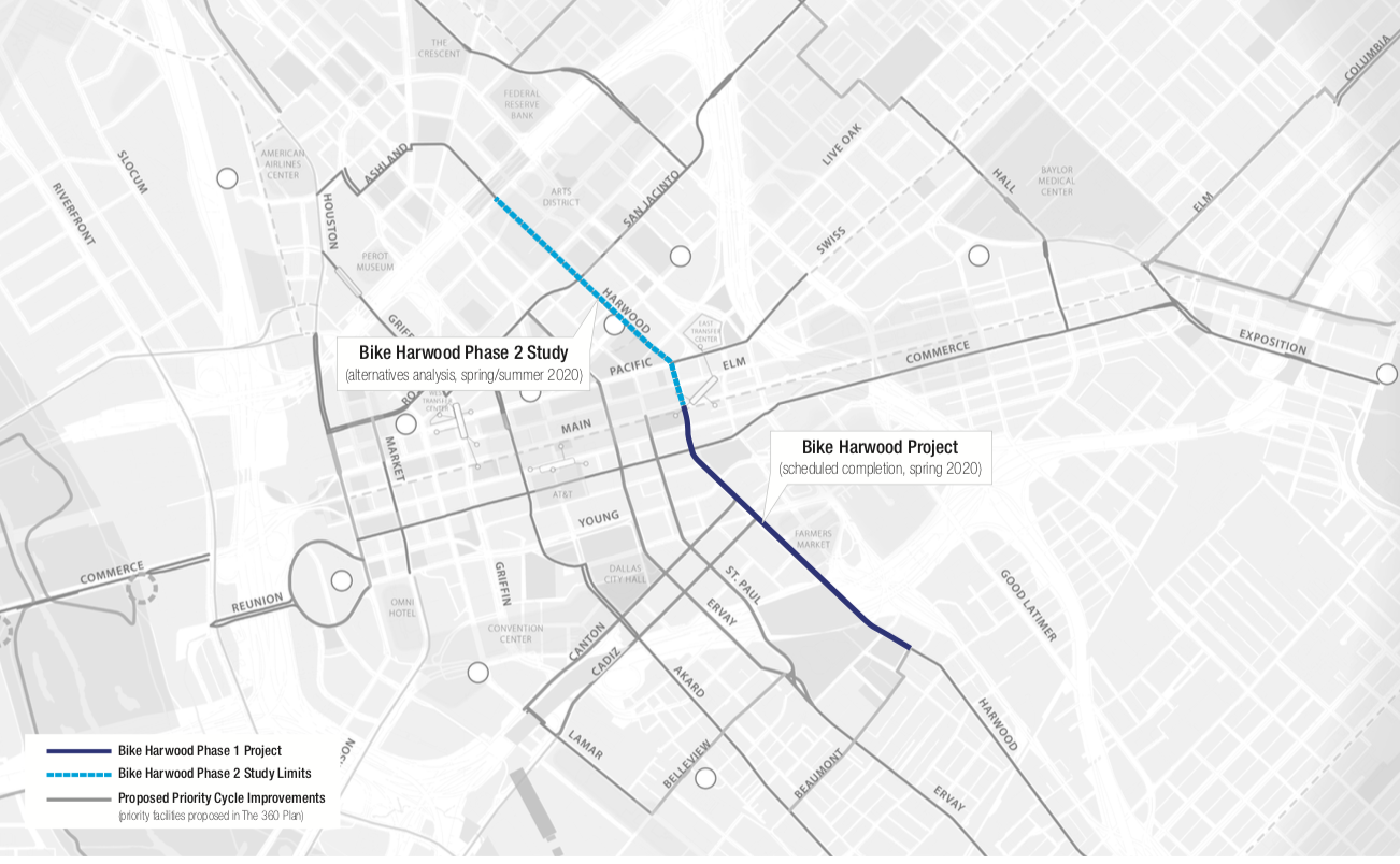 Planned Protected Bike Lane Coming to Harwood Street to Link the Cedars with Downtown