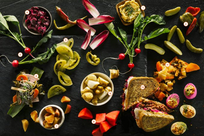 variety of pickled foods