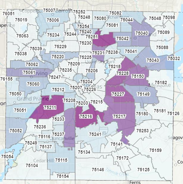 zip code map of dallas The Covid 19 Pandemic S Most Vulnerable Zip Codes In Dallas D zip code map of dallas