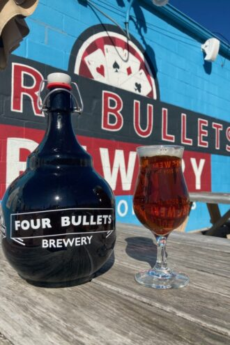 Four Bullets brandywine beer in front of the brewery.