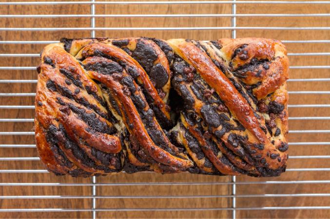 A loaf of chocolate babka.