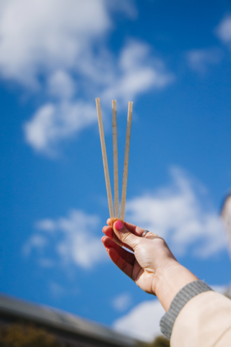 A hand holding PlantSwitch straws