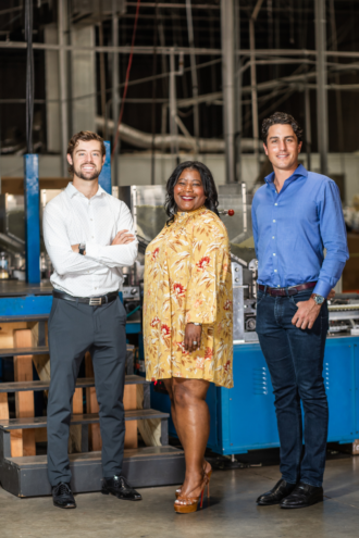 Dillon Baxter (left) and Maxime Blandin of PlantSwitch with Sharina Perry (center) of Utopia Plastix, inventor of a plant-based resin.