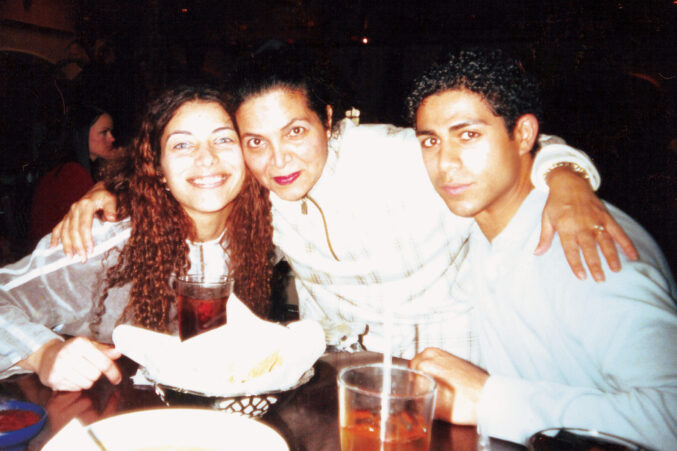 Hesham Elgaghil with sister and mother