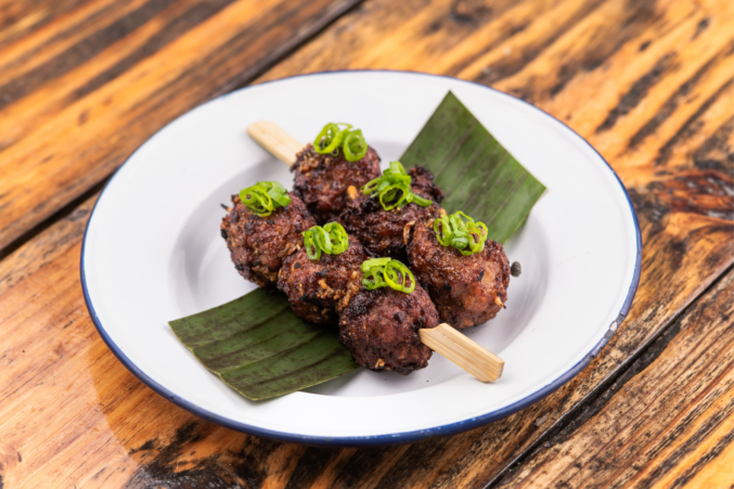 Two meatball skewers from Khao Gang