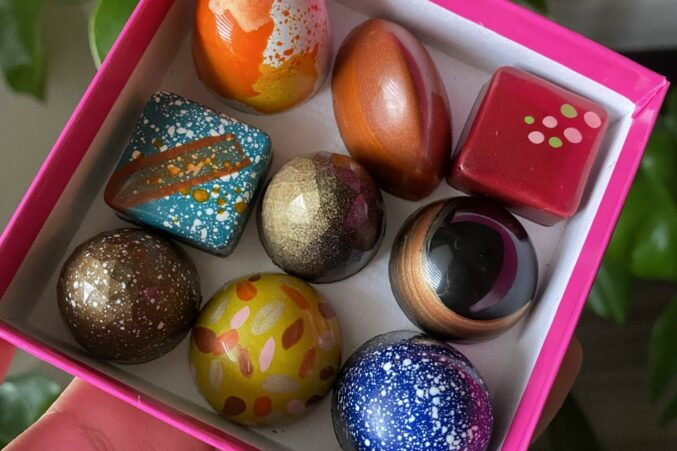 A small box of chocolate bonbons.