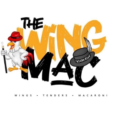 A logo image for the Wing Mac of a chicken in a hat.