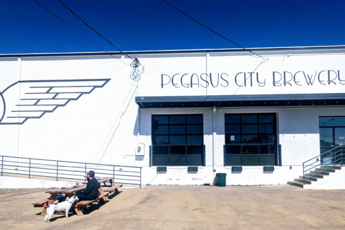 Exterior of Pegasus city Brewing in the Design District in Dallas, Texas.