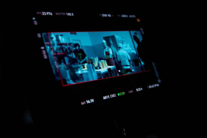A picture of a filmic camera screen of Carlo Gattini.