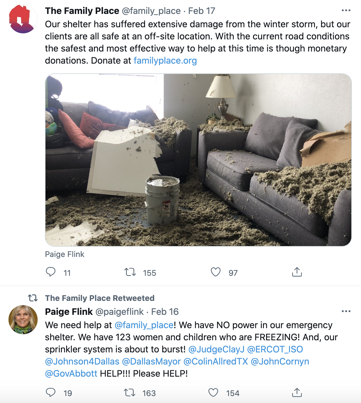 Twitter thread about The Family Place's storm damage.