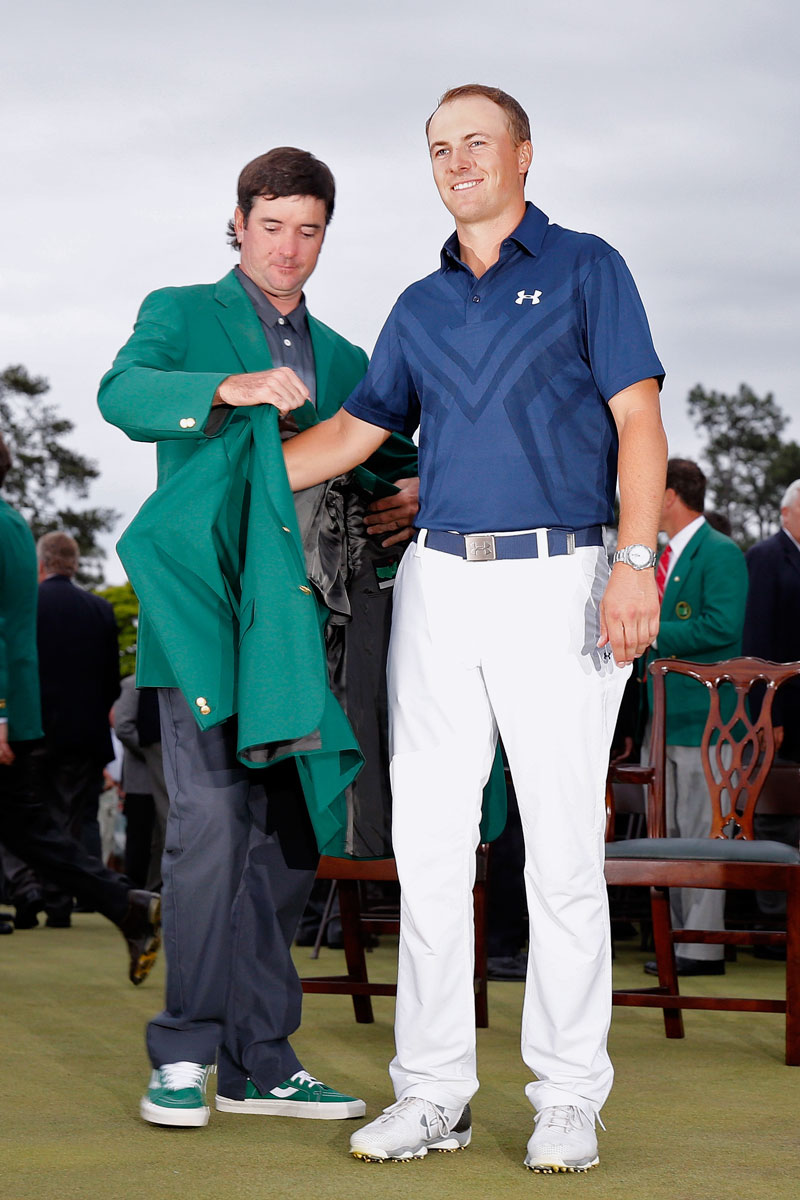 b00502c69eed ... presents Spieth with the fabled green jacket after Spieth won the 2015  Masters at Augusta National Golf Club in April 2015 in Augusta