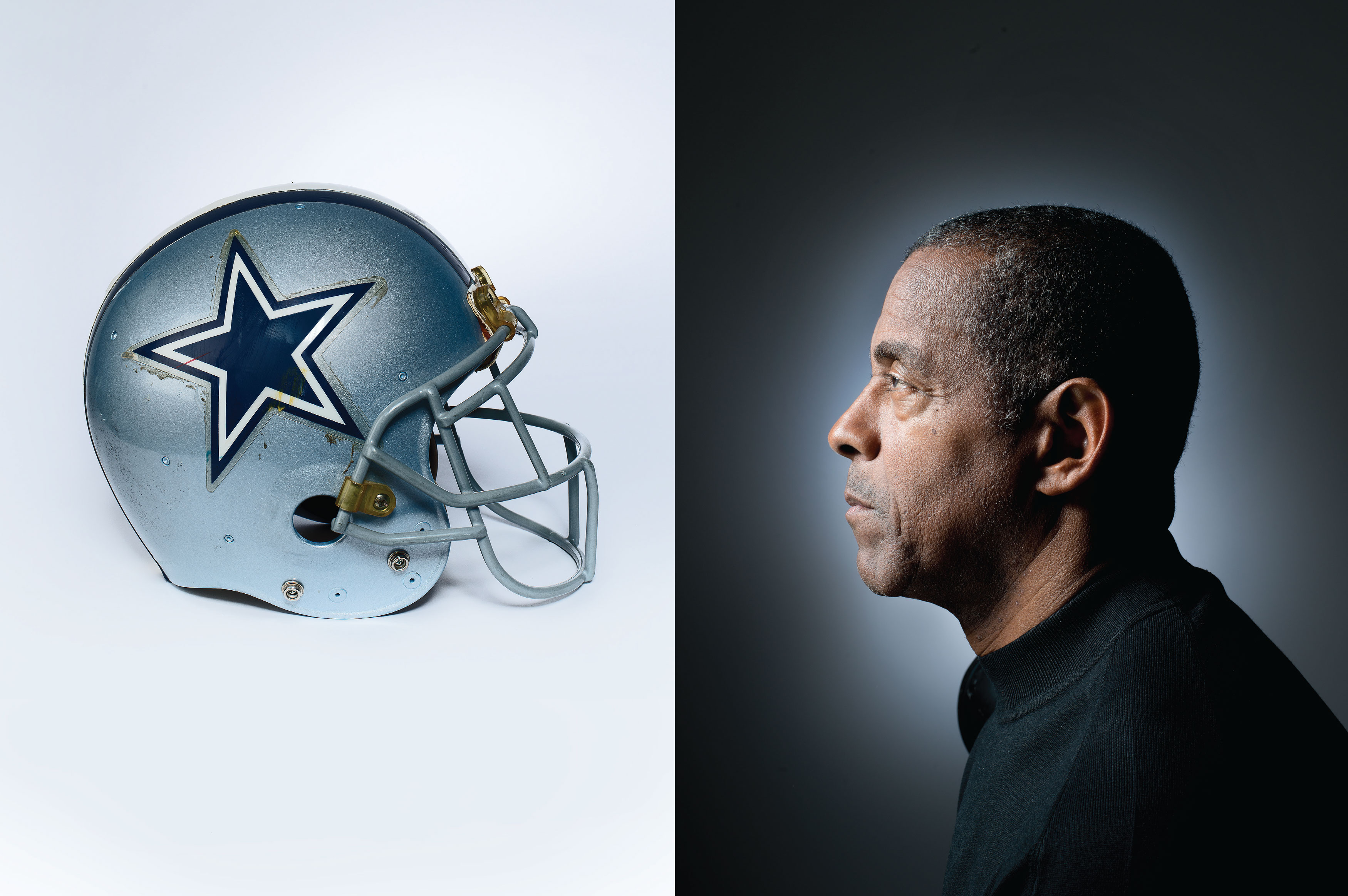 "COLLISION COURSE: Dorsett, photographed in his home December 19, 2013, faces his old, battle-scarred helmet. From ""Tony Dorsett Is Losing His Mind,"" February 2014."
